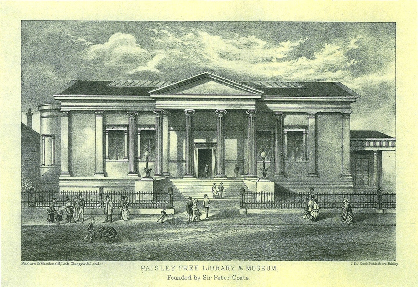 "Etching of the museum exterior, entitled ""Paisley Free Library & Museum founded by Sir Peter Coats"""