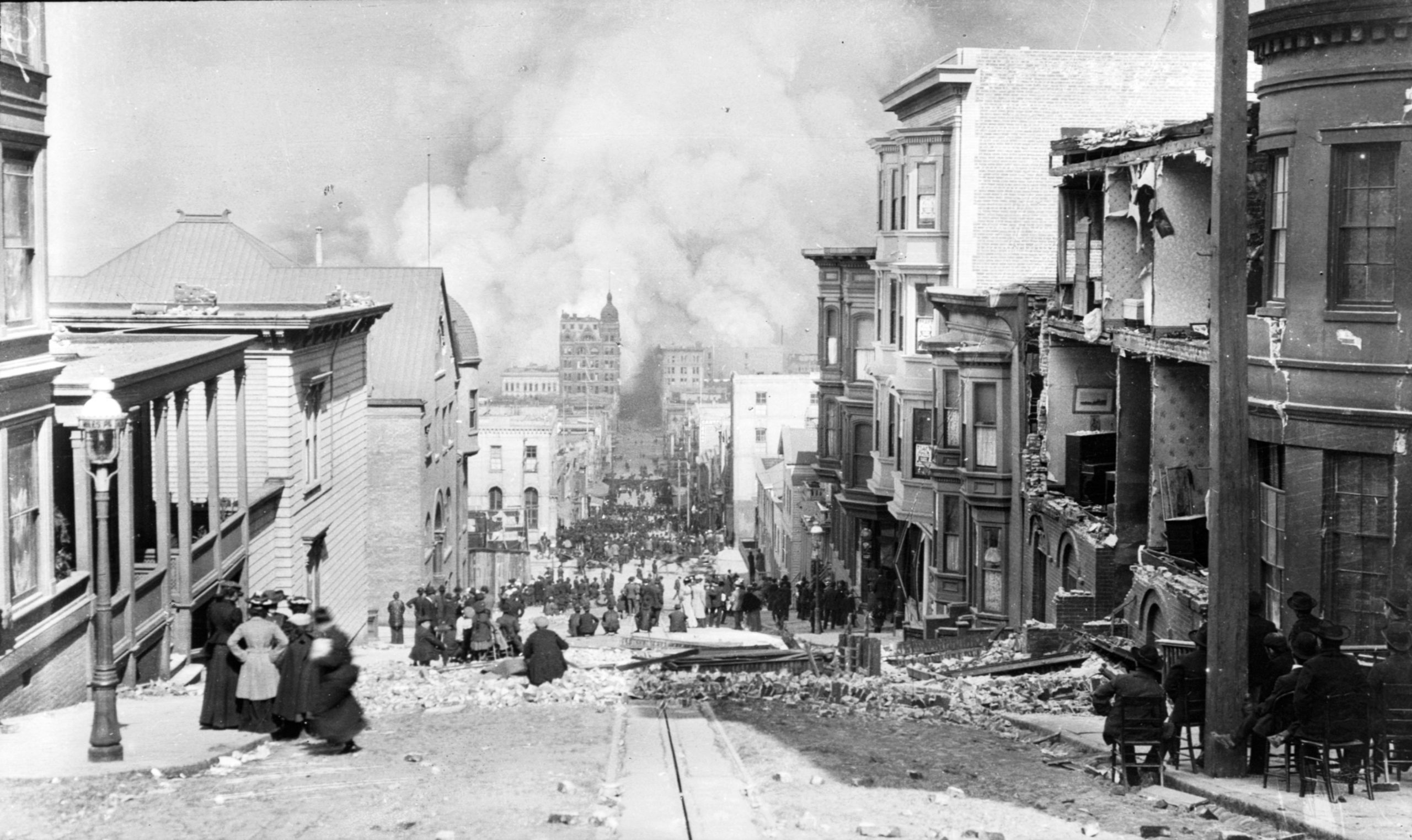 A shot of the destruction following the San Francisco earthquake in 1906