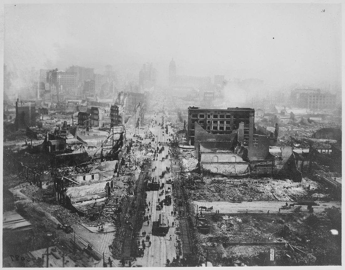 This image shows the devastating impact of the 1906 San Francisco earthquake damage
