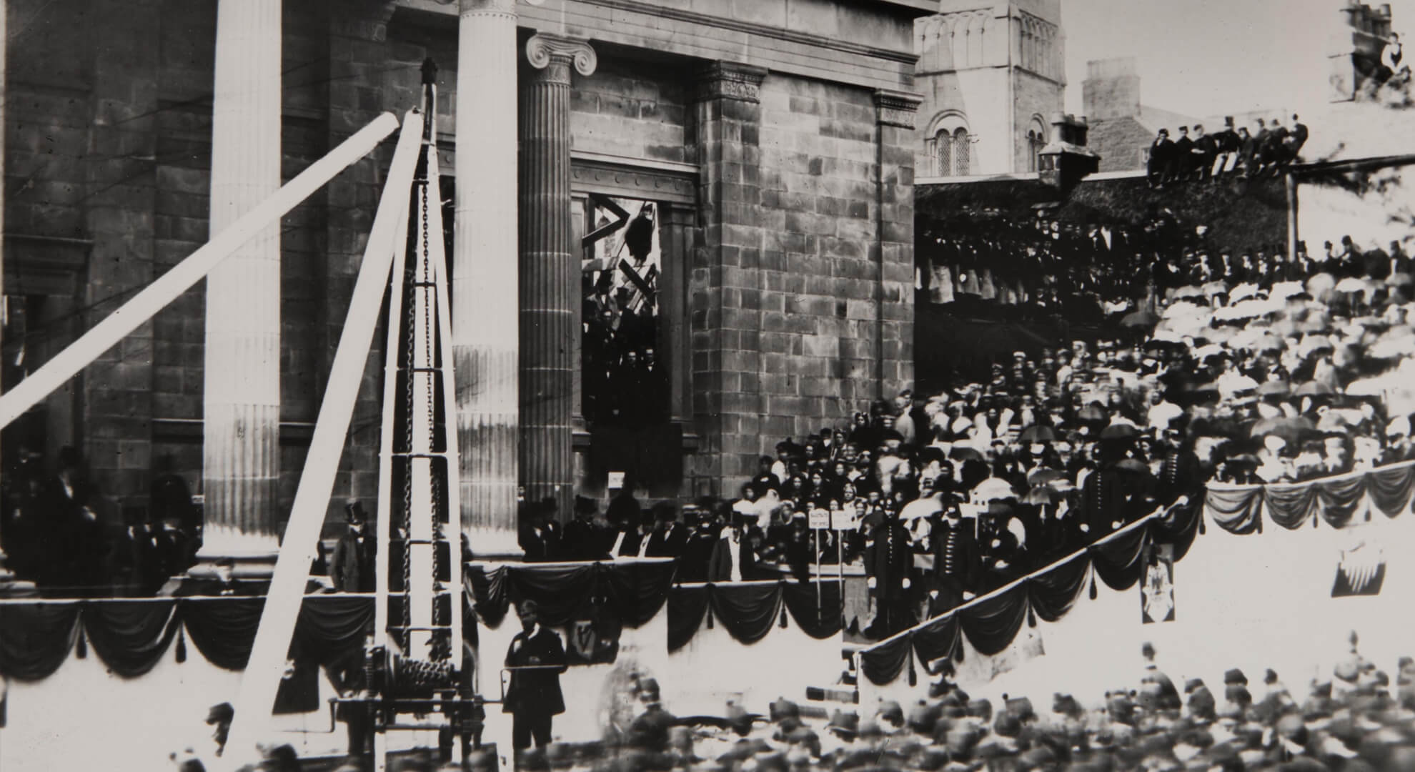 Photo of crowds gathered for the laying of the Museum's foundation stone, 1869