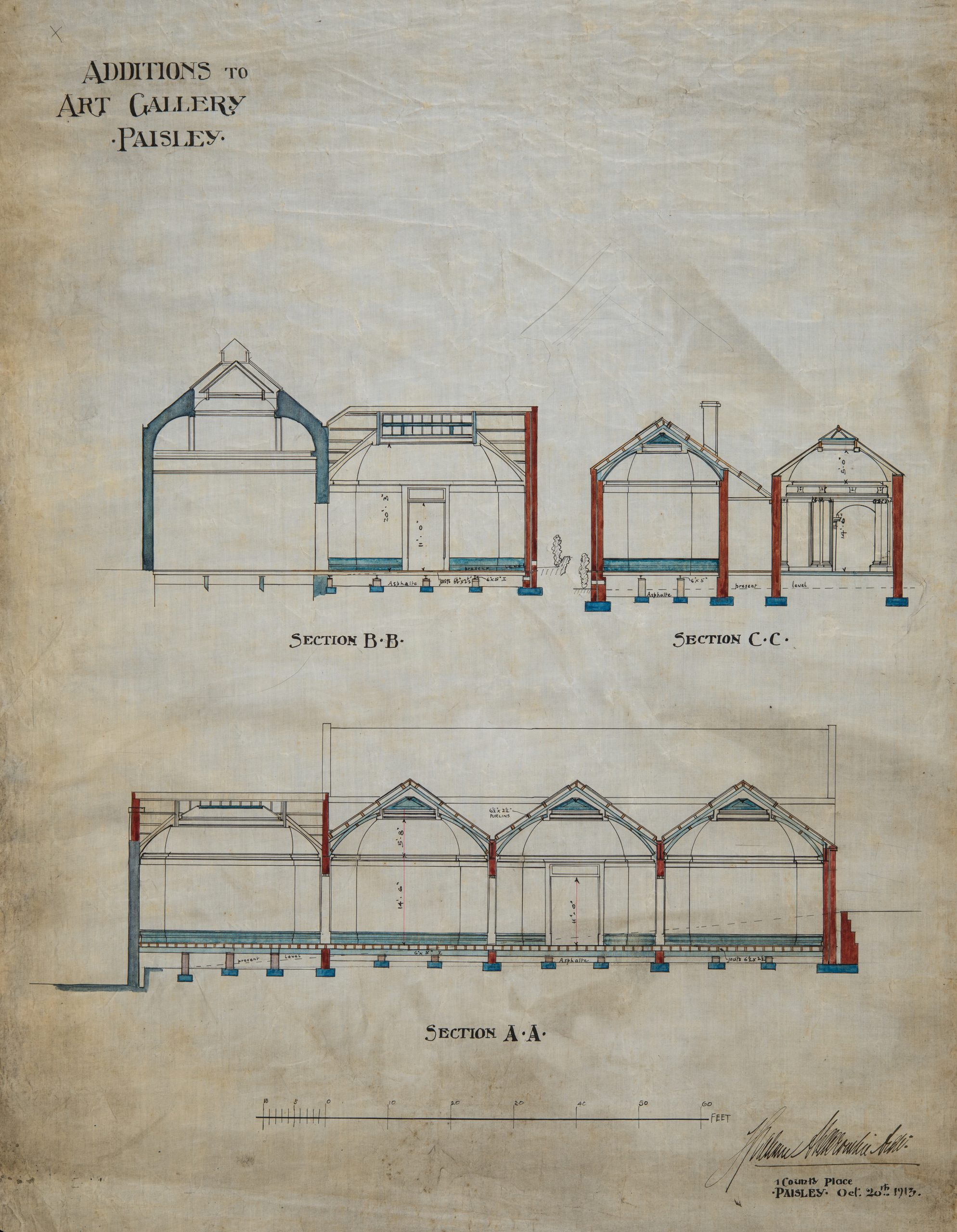 Architectural plans for 1913 extension of Paisley Museum by Architect Thomas Graham Abercrombie