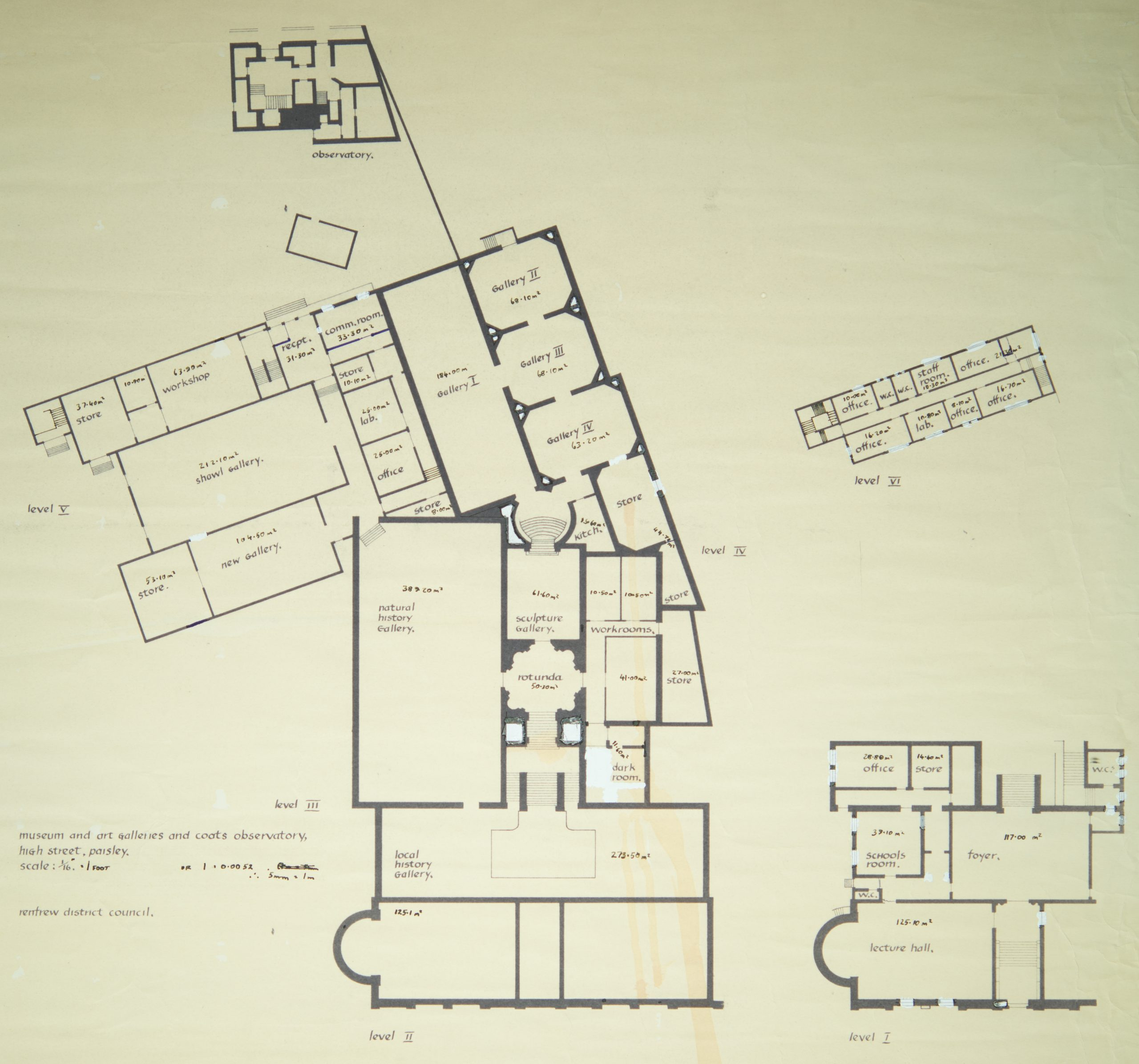 Floor plan of the museum, including the 1970's extension, the Observatory and Transit House