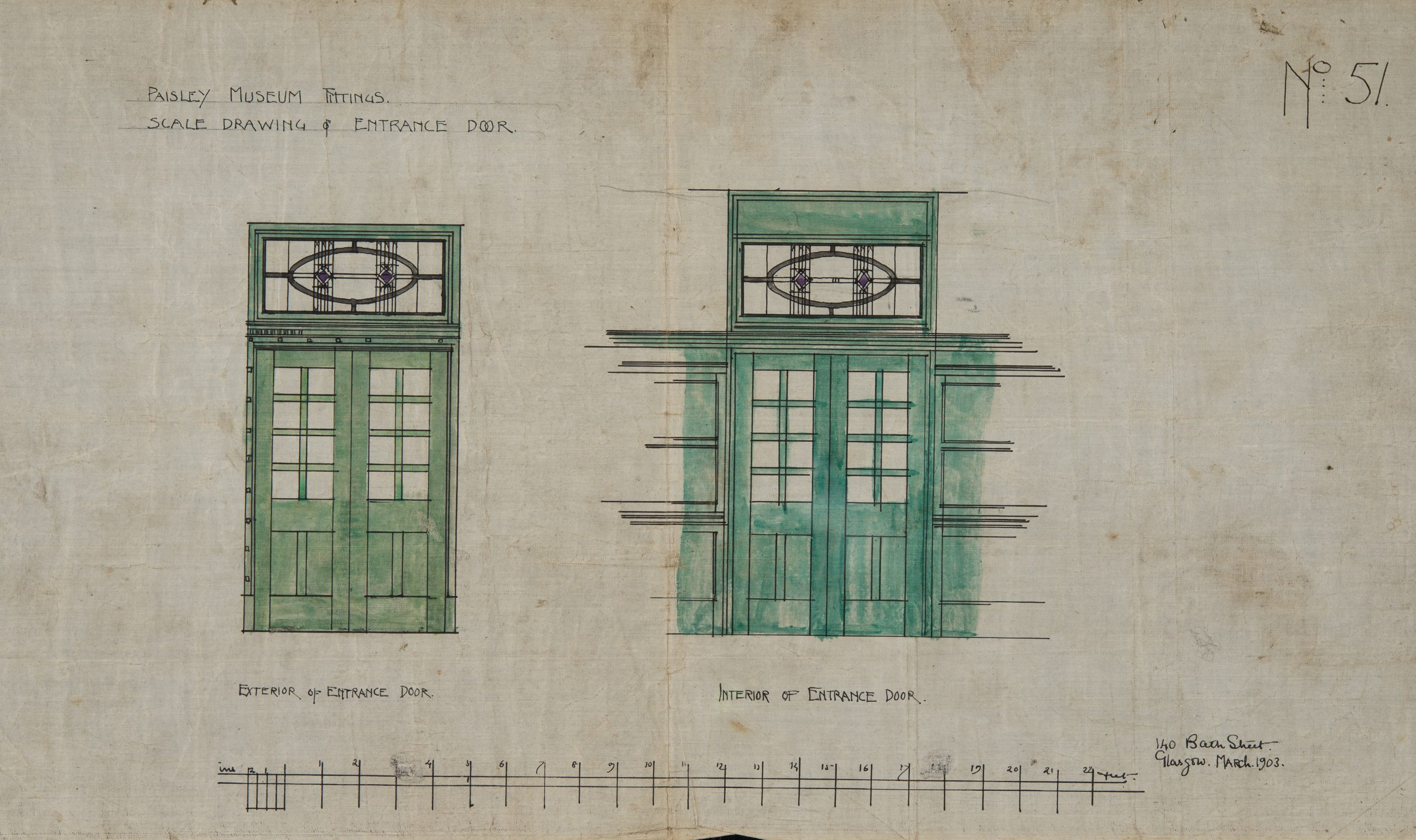 Scale drawing of door designs with stained glass above. Honeyman and Keppie, C R Mackintosh