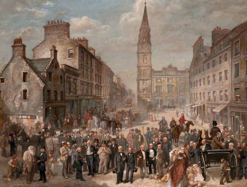 A painting of Paisley Cross by Paisley born James Elder Christie, dated 1868