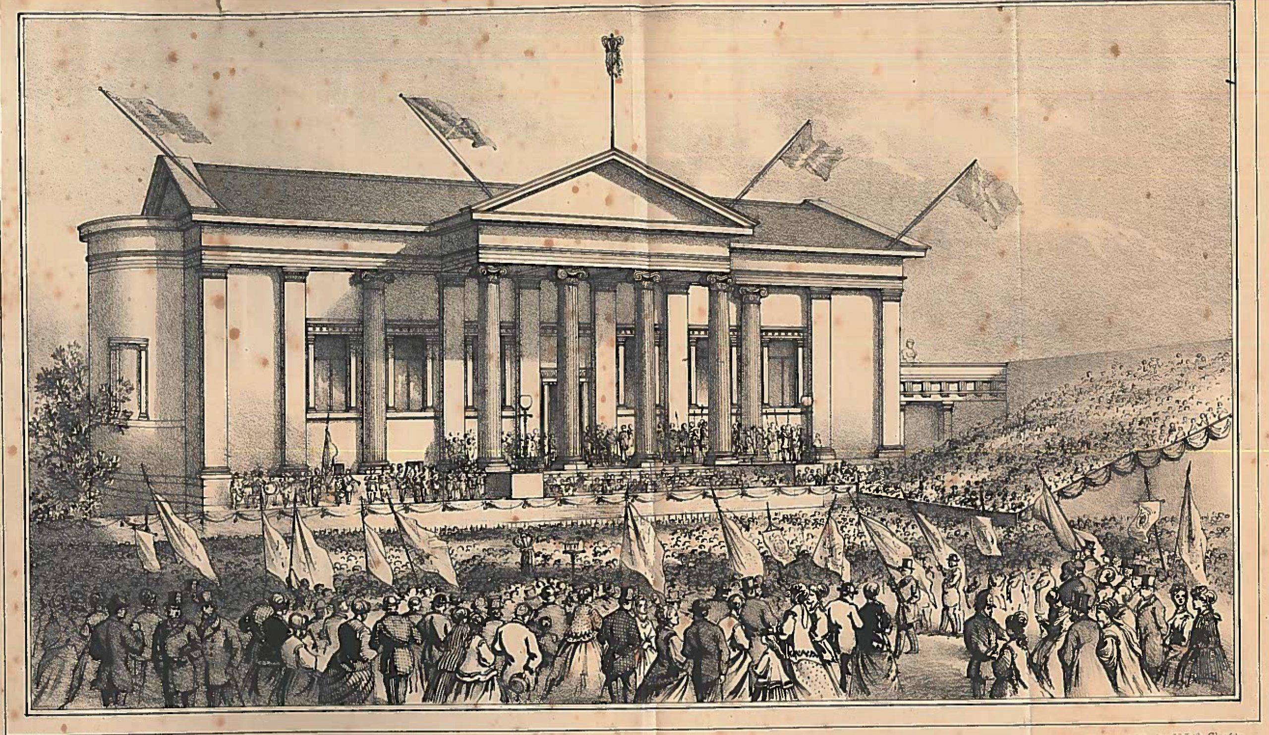 Etching of Paisley Museum opening ceremony 1871 showing a band and a crowd waving flags.