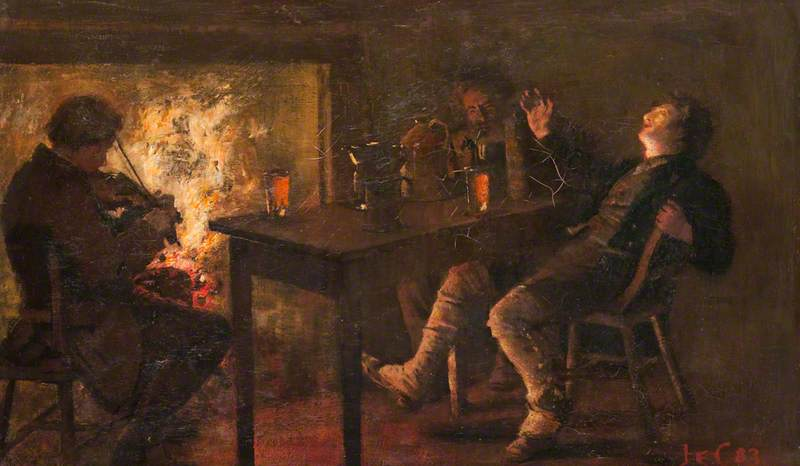 JE Christie group recital of the Robert Burns poem Willie Brew'd a Peck o' Maut c1900 oil on canvas