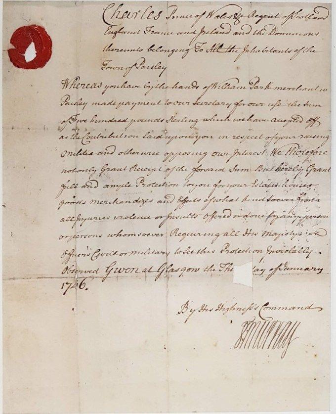 Jacobite Receipt to Paisley Town Magistrates (1745 Rebellion)