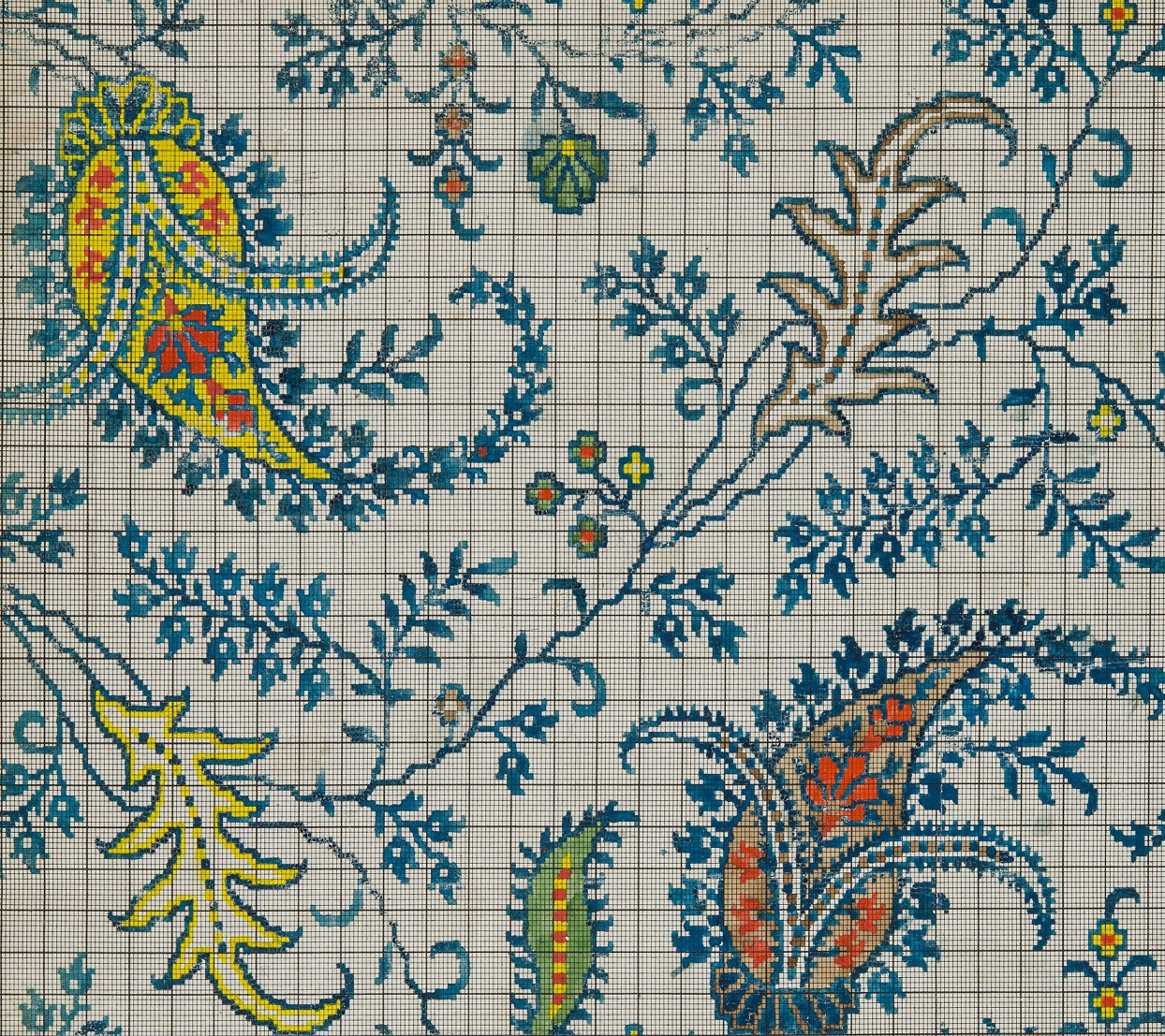 Close up view of squared paper showing a blue, red and yellowPaisley pattern