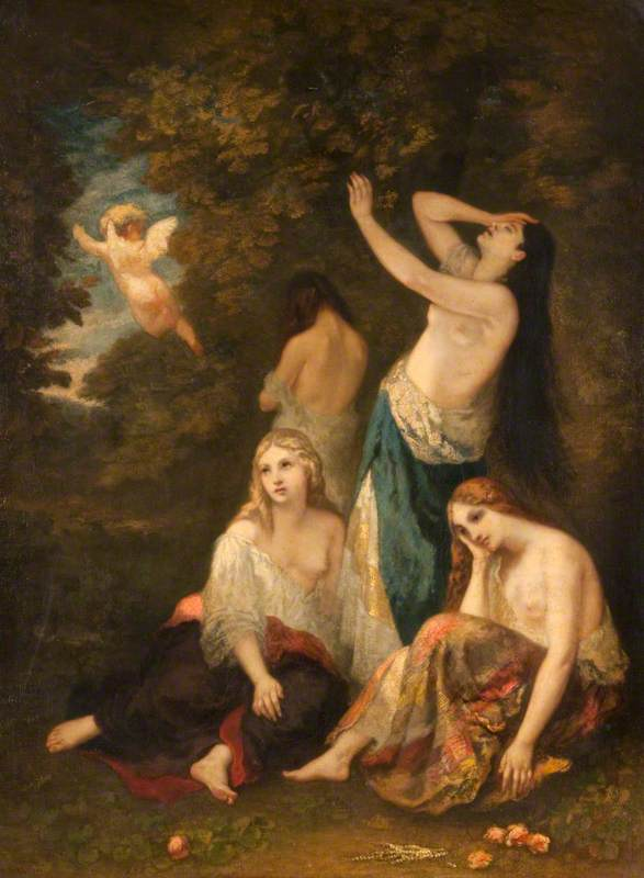 Four half clothed women in a forest look distressed as Cupid flies off